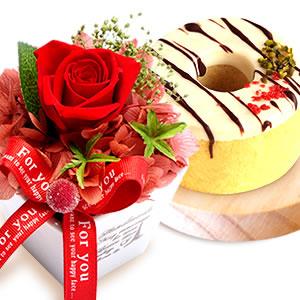 母の日のプレゼント 薔薇プリザーブド赤とお菓子【ホワイト】