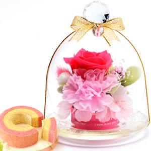 母の日 2018 ガラスドームプリザM【ピンク】+プリン