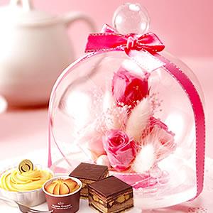 母の日 2018 ガラスドームL【ピンク】+冷凍スイーツ3種