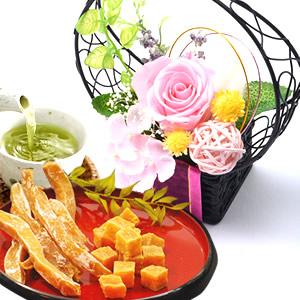 母の日 2018 花籠プリザ【ピンク】+干し芋と芋アマセット