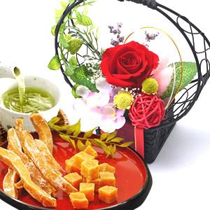 母の日 2018 花籠プリザ【赤】+干し芋と芋アマセット