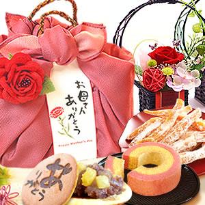 母の日 2018 花籠プリザ【赤】+籠バックスイーツ
