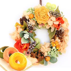 母の日のプレゼント リース【オレンジ】+お菓子2個