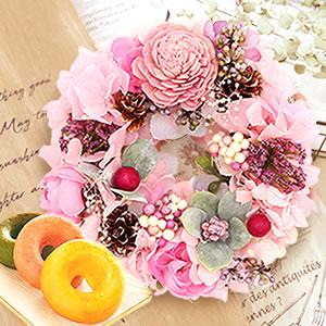 母の日 2019年  リース【ピンク】+お菓子3個