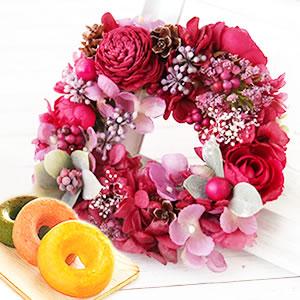 母の日のプレゼント リース【赤】+お菓子2個