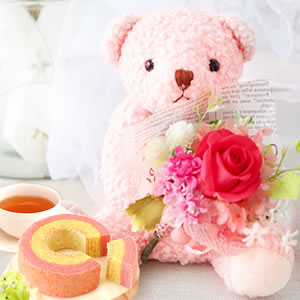 母の日 2019年  可愛い花束テディベア【ピンク】+カップケーキ3個