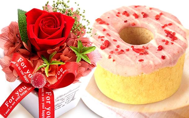 母の日のプレゼント 薔薇プリザーブド赤とお菓子【ストロベリー】