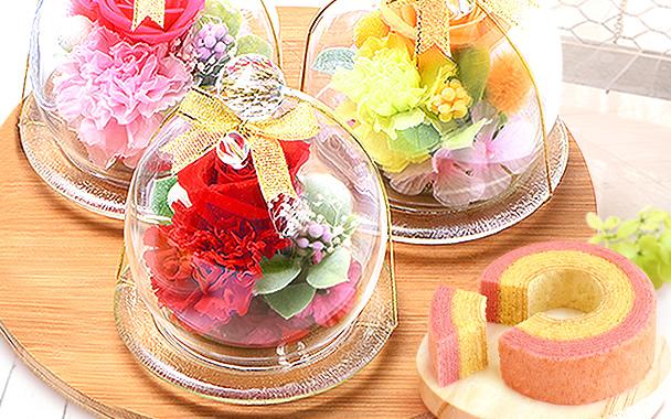 母の日 2016 ガラスドームプリザM+プリン(全色)  【新・ミニ】  border=