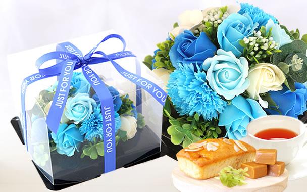 母の日 プレゼント  フラワーケーキ ブルー
