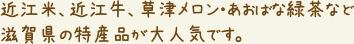 近江米、近江牛、草津メロン・あおばな緑茶など 滋賀県の特産品が大人気です。