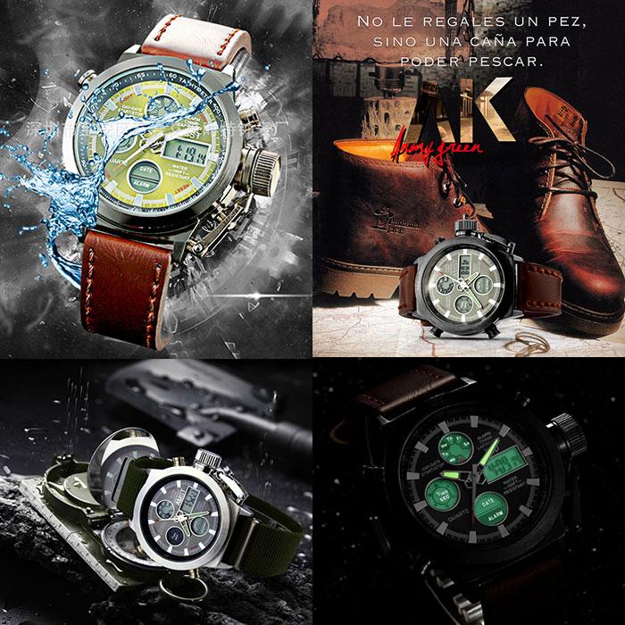 AMST スポーツウォッチ アナログデジタル 腕時計 男性用 50m防水 アラームクロック LEDライト クロノグラフ 日付 週 スポーツ 並行輸入品 AM3003
