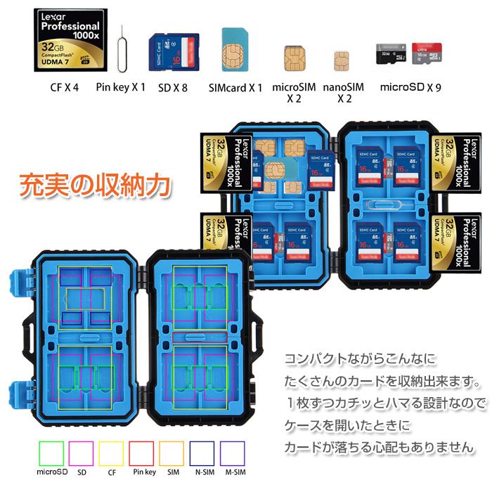 メモリーカードケース/26枚収納/CFカード/SDカード/SIMカード/microSIMカード/nanoSIMカード/microSDカード/携帯管理ケース/防振/防塵/防水/軽量/保護/◇PU5002