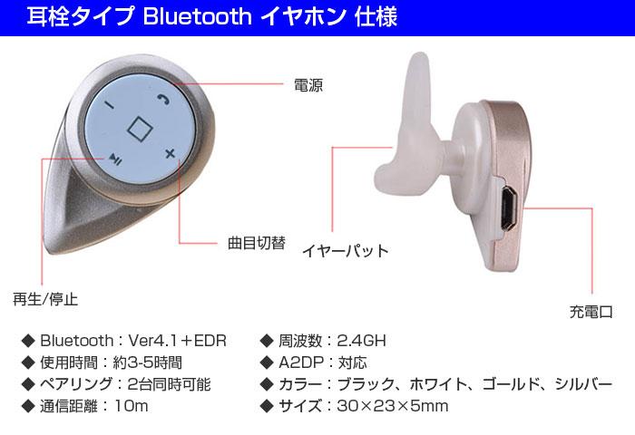耳栓タイプ Bluetooth イヤホン 密閉型入耳式 小型 マイク内臓通話可能 インナーイヤー◇A8