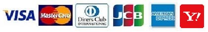 VISA、MasterCard、Diners Club、JCB、American Express、Yahoo!カード