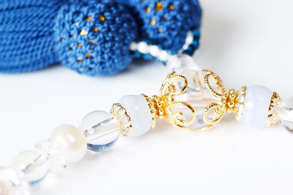 パワーストーン数珠カルセドニー水晶