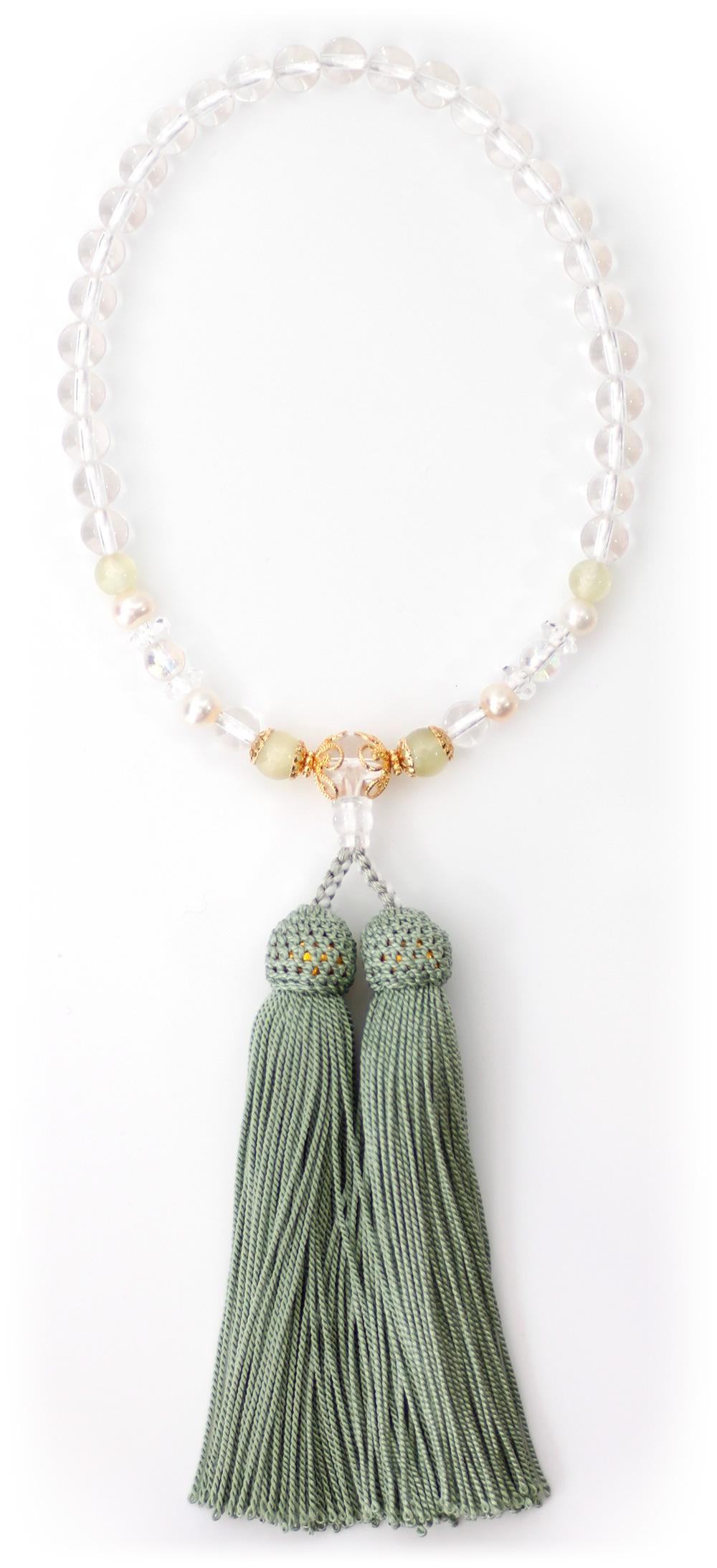 パワーストーン数珠霧緑オニキス水晶