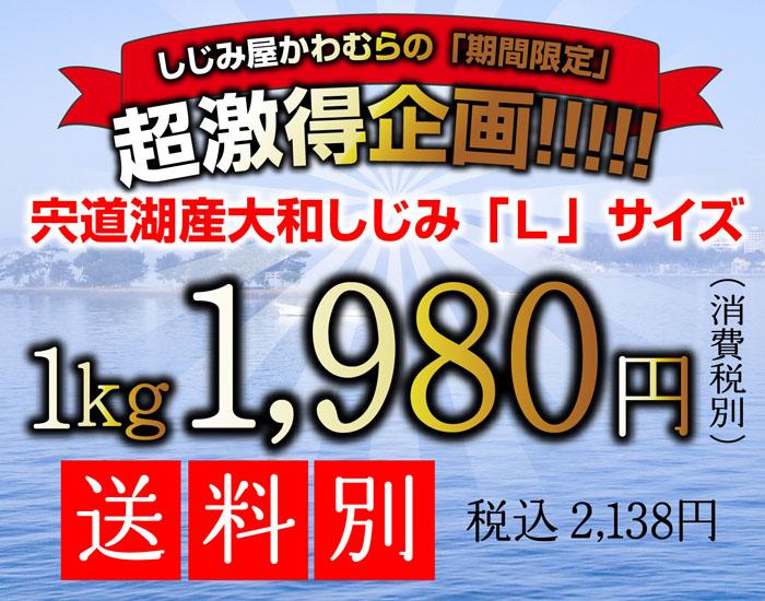 激得企画、宍道湖産冷凍大和しじみLサイズ、1キロ
