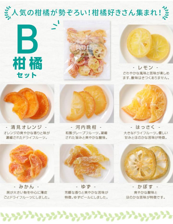 ドライフルーツB柑橘セットレモン オレンジ 河内晩柑 はっさく みかん ゆず かぼす