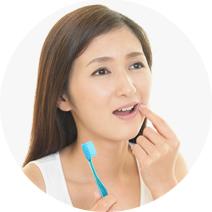 歯茎(歯肉)がはれていたり、ハミガキの時に歯茎から血が出る。