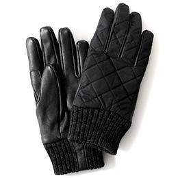 KURODA(クロダ) リモンタ ナイロン ヤギ革 メンズ 手袋 ブラック