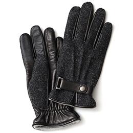 KURODA(クロダ) ハリスツイード ベルト付き 羊革 メンズ 手袋 チャコール