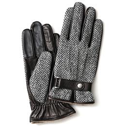 KURODA(クロダ) ハリスツイード ベルト付き 羊革 メンズ 手袋 ヘリンボーン