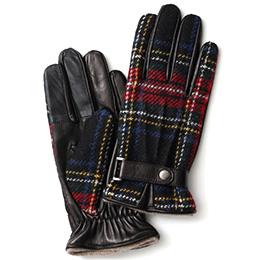 KURODA(クロダ) ハリスツイード ベルト付き 羊革 メンズ 手袋 レッド/チェック