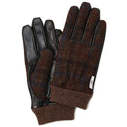 KURODA(クロダ) ハリスツイード リブ付き 羊革 メンズ 手袋 ブラウン/チェック