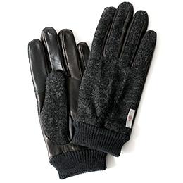 KURODA(クロダ) ハリスツイード リブ付き 羊革 メンズ 手袋 チャコール