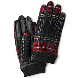 KURODA(クロダ) ハリスツイード リブ付き 羊革 メンズ 手袋 レッド/チェック