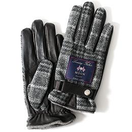 KURODA(クロダ) ムーン ベルト付き 羊革 メンズ 手袋 グレー/チェック