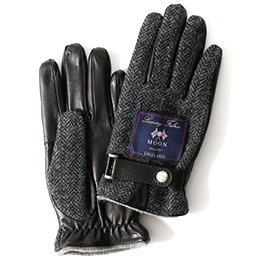KURODA(クロダ) ムーン ベルト付き 羊革 メンズ 手袋 ヘリンボーン