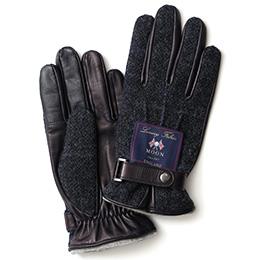 KURODA(クロダ) ムーン ベルト付き 羊革 メンズ 手袋 ネイビー/チェック