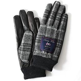 KURODA(クロダ) ムーン リブ付き 羊革 メンズ 手袋 グレー/チェック