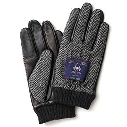 KURODA(クロダ) ムーン リブ付き 羊革 メンズ 手袋 ヘリンボーン