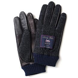 KURODA(クロダ) ムーン リブ付き 羊革 メンズ 手袋 ネイビー/チェック