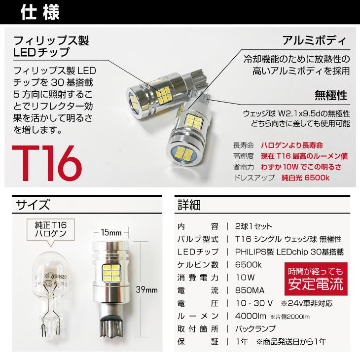 T16 LED バックランプ 仕様