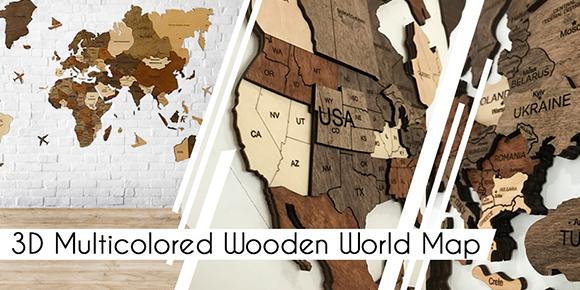 木製壁掛け世界地図/3D Wood World Map