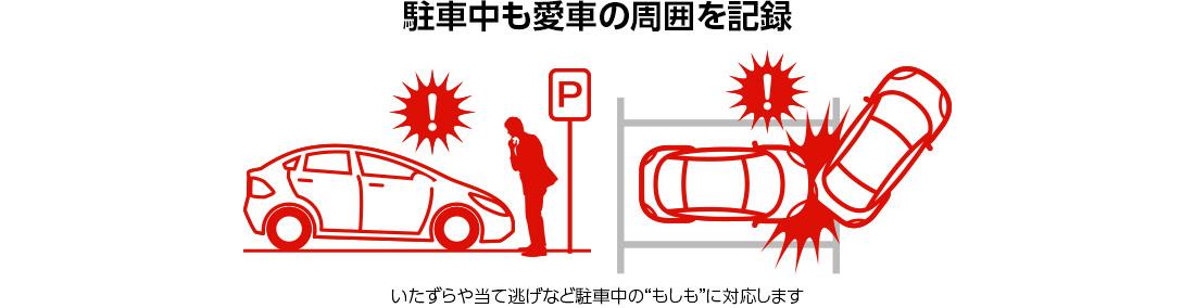 駐車中も記録します!駐車中のいたずらも見逃しません