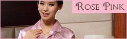 花刺繍前開きパジャマ:ローズピンク