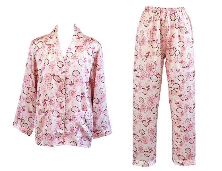 100%シルク 長袖レディースパジャマ ランダムフラワープリント ピンク