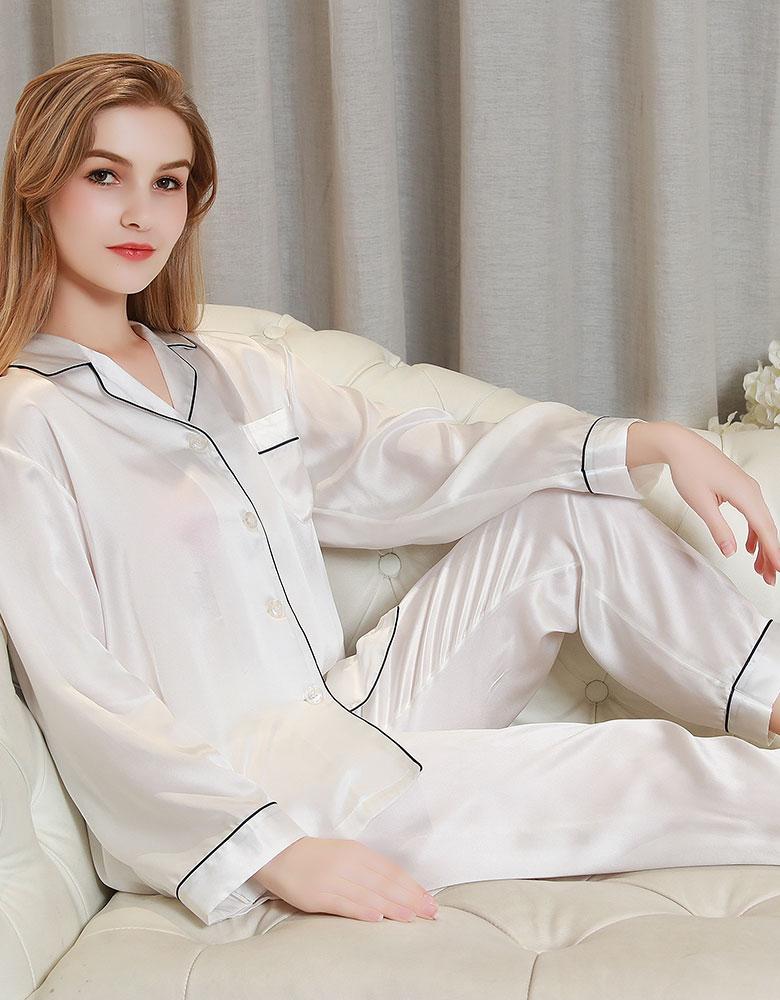 100%シルク 長袖レディースパジャマ バイカラーパイピング ホワイト