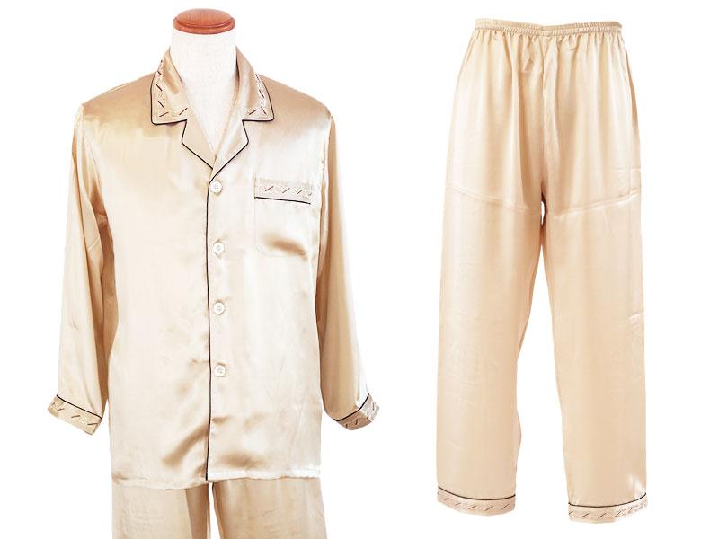 100%シルク 長袖メンズパジャマ ボーダー刺繍切替 シャンパンゴールド