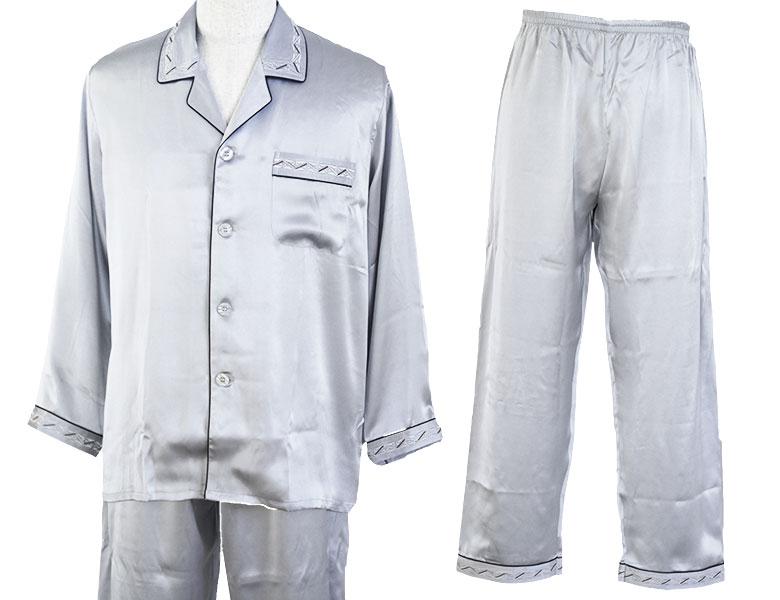 100%シルク 長袖メンズパジャマ ボーダー刺繍切替 プラチナシルバー