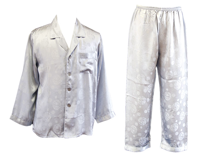 100%シルク 長袖メンズパジャマ ジャガード中華文様 プラチナシルバー