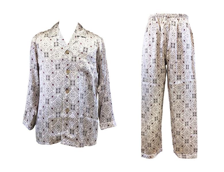 100%シルク 長袖メンズパジャマ オーナメント柄 グレージュ