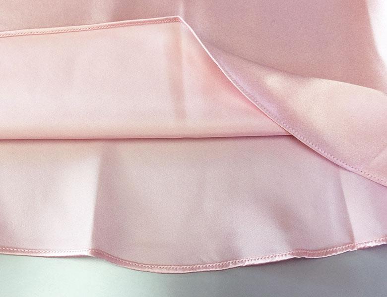 100%シルク 胸元フラワーレース シンプルフレアスリップ ローズピンク