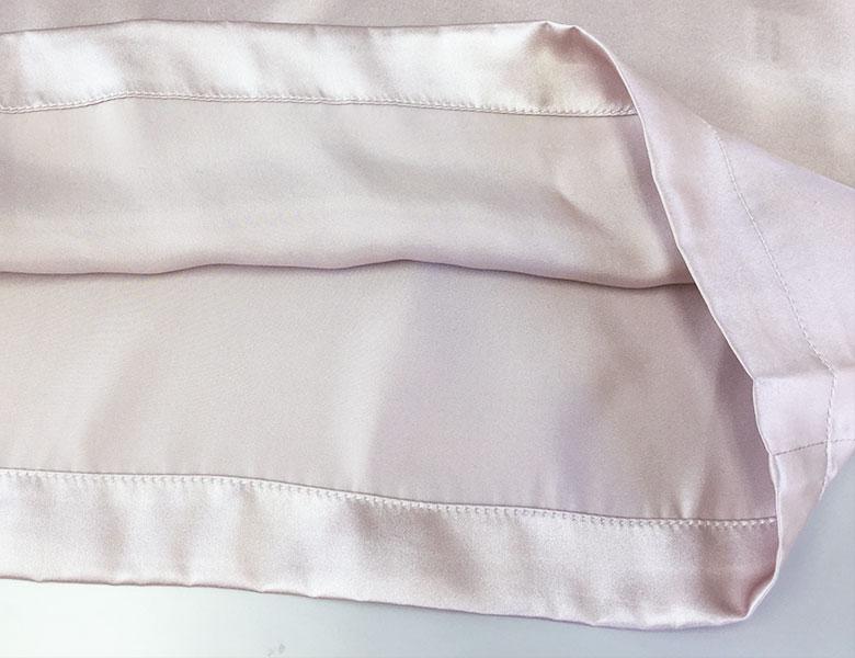 100%シルク 胸元ギャザー&リボン スリップワンピース