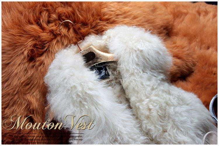 カルガンラムファー襟 Wフェイス オーストラリア産ラムムートンベスト a1111 オフホワイト