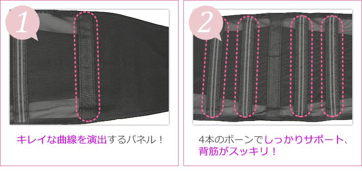 (1)キレイな曲線を演出するパネル! (2)4本のボーンでしっかりサポート、背筋がスッキリ!